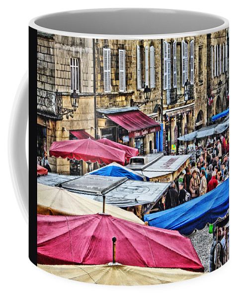 Market Coffee Mug featuring the digital art Market Day In Sarlat by Greg Matchick