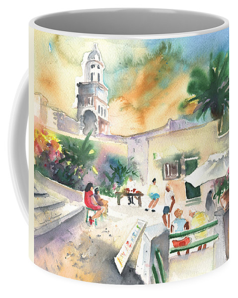 Travel Coffee Mug featuring the painting Market In Teguise In Lanzarote 07 by Miki De Goodaboom