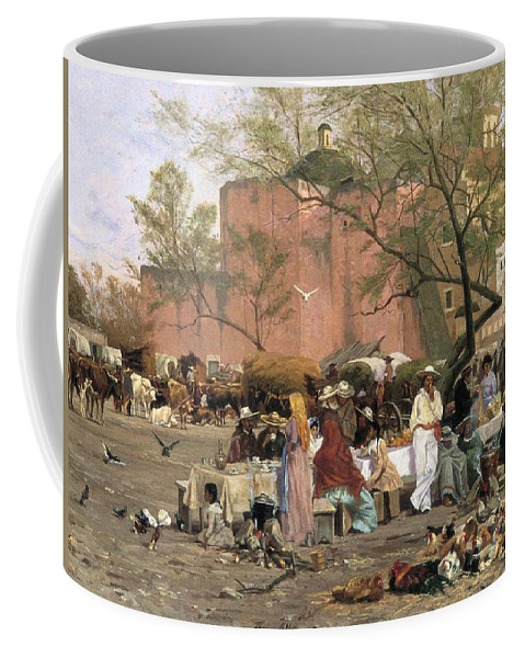 Market Place Coffee Mug featuring the painting Market Plaza by Thomas Allen