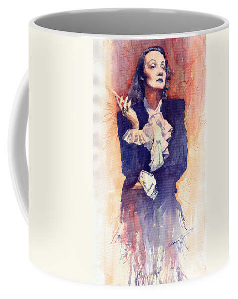 Watercolour Coffee Mug featuring the painting Marlen Dietrich by Yuriy Shevchuk