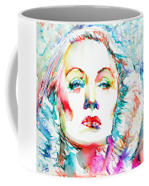 Marlene Dietrich Coffee Mug featuring the painting Marlene Dietrich - Colored Pens Portrait by Fabrizio Cassetta