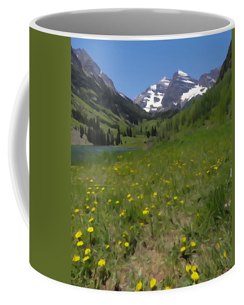 Spring Color In Maroon Bells Coffee Mug featuring the photograph Maroon Bells Watercolor by Dan Sproul