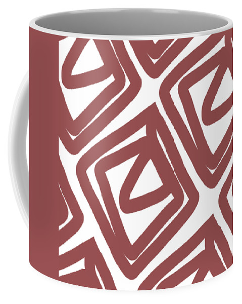 Pattern Coffee Mug featuring the painting Marsala Envelopes- Abstract Pattern by Linda Woods
