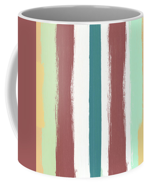 Marsala Coffee Mug featuring the painting Marsala Stripe- Abstract Pattern Painting by Linda Woods