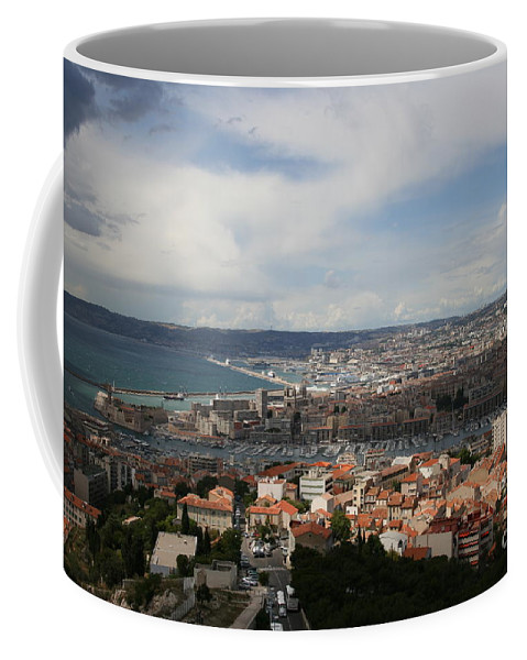 Harbor Coffee Mug featuring the photograph Marseille View From Cathedral Notre Dame De La Garde by Christiane Schulze Art And Photography