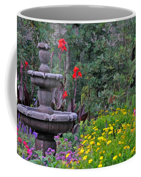 Fountain In Garden Coffee Mug featuring the photograph Garden Fountain And Flowers by Ginger Wakem