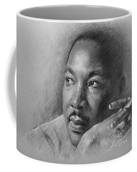 Portrait Coffee Mug featuring the drawing Martin Luther King Jr by Ylli Haruni