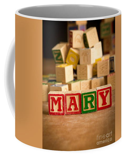 Abcs Coffee Mug featuring the photograph Mary - Alphabet Blocks by Edward Fielding