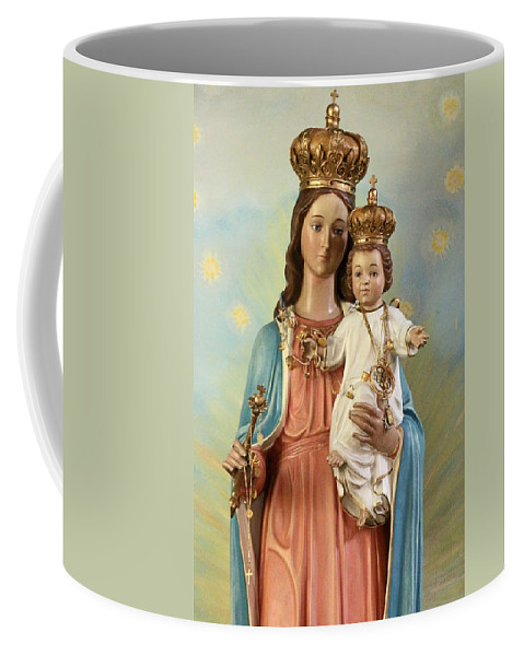 Taybeh Coffee Mug featuring the photograph Mary Statue At Taybeh Village by Munir Alawi
