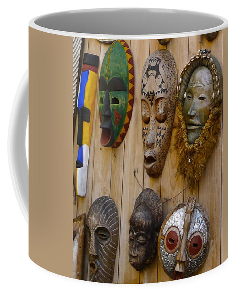Mask Coffee Mug featuring the photograph Masks by Denise Mazzocco