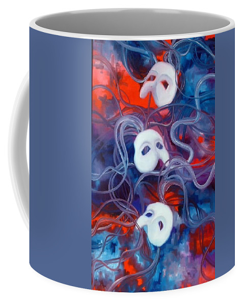 Red Coffee Mug featuring the painting Masks V by Lord Frederick Lyle Morris