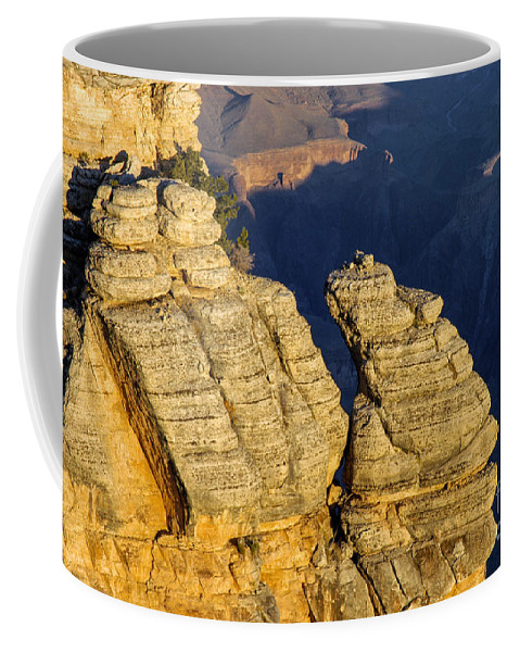 Grand Canyon National Park Arizona Parks Mather Point South Rim Canyons Rock Formations Rock Formation Sunrise Sunrises Landscape Landscapes Landmark Landmarks Coffee Mug featuring the photograph Mather Point by Bob Phillips