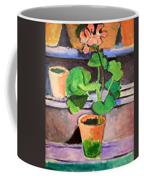 Pot Of Geraniums Coffee Mug featuring the photograph Matisse's Pot Of Geraniums by Cora Wandel