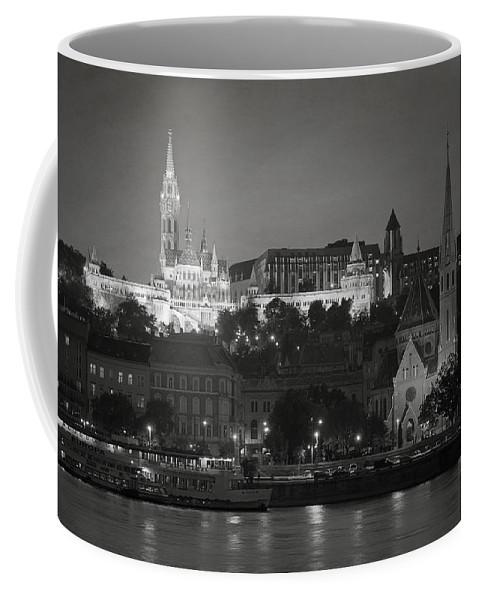 Joan Carroll Coffee Mug featuring the photograph Matthias Church Night Bw by Joan Carroll