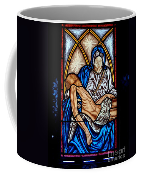 Stained Glass Coffee Mug featuring the photograph Mausoleum Window by Ed Weidman