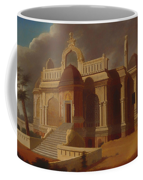 Painting Coffee Mug featuring the painting Mausoleum With Stone Elephants by Mountain Dreams