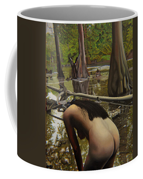 Nude Coffee Mug featuring the painting May Morning Arkansas River 2 by Thu Nguyen