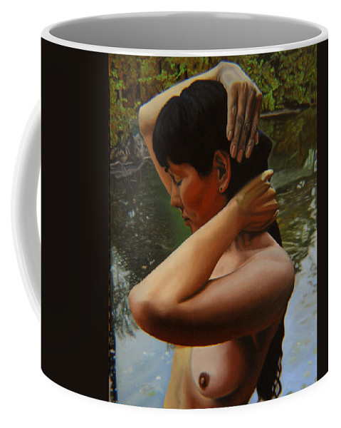 Bather Coffee Mug featuring the painting May Morning Arkansas River 3 by Thu Nguyen