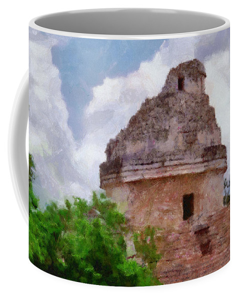 Yucatan Coffee Mug featuring the painting Mayan Observatory by Jeffrey Kolker