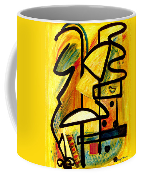 Abstract Art Coffee Mug featuring the painting Mayan by Stephen Lucas