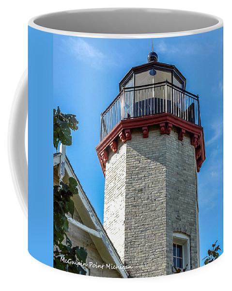 Mcgulpin Point Lighthouse Michigan Coffee Mug featuring the photograph Mcgulpin Point Lighthouse Michigan by LeeAnn McLaneGoetz McLaneGoetzStudioLLCcom
