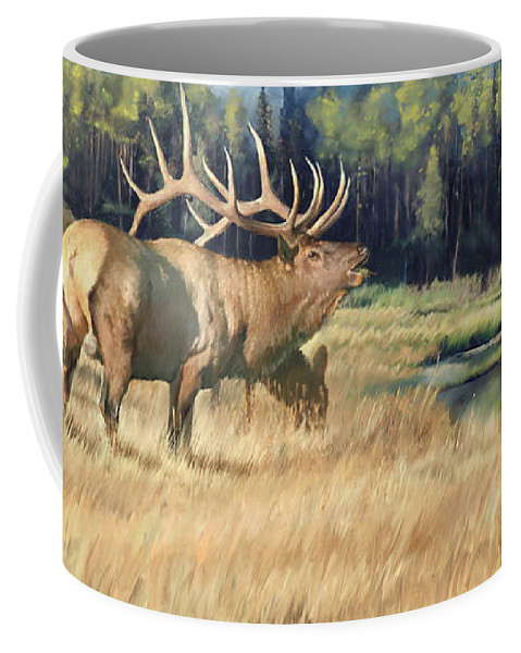 Elk Coffee Mug featuring the painting Meadow Music by Rob Corsetti