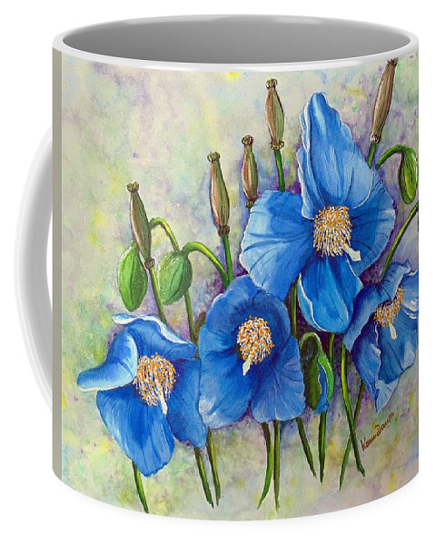 Blue Hymalayan Poppy Coffee Mug featuring the painting Meconopsis  Himalayan Blue Poppy by Karin Dawn Kelshall- Best