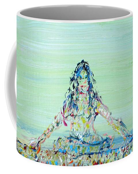 Meditation Coffee Mug featuring the painting Meditation Blues by Fabrizio Cassetta
