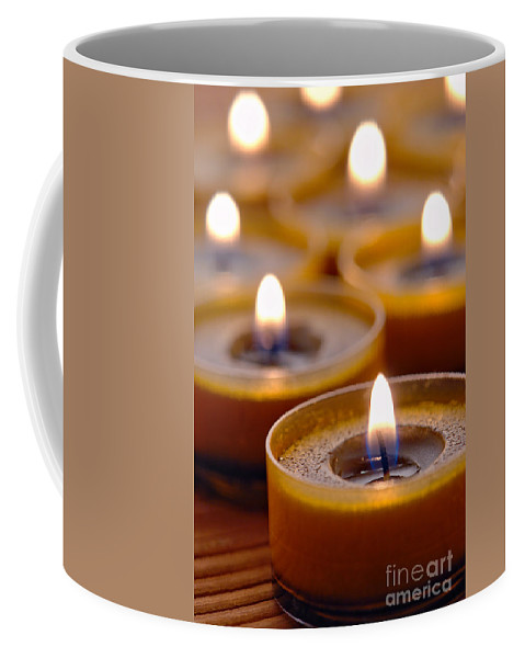 Candle Coffee Mug featuring the photograph Meditation Candles Path by Olivier Le Queinec
