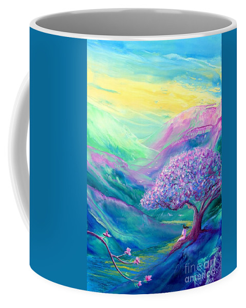 Spring Coffee Mug featuring the painting Meditation In Mauve by Jane Small