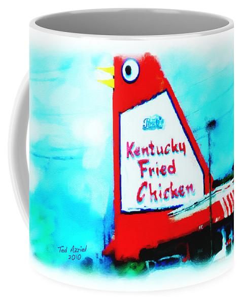 Big Chicken Art Paintings Coffee Mug featuring the painting Meet Me At The Big Chicken by Ted Azriel