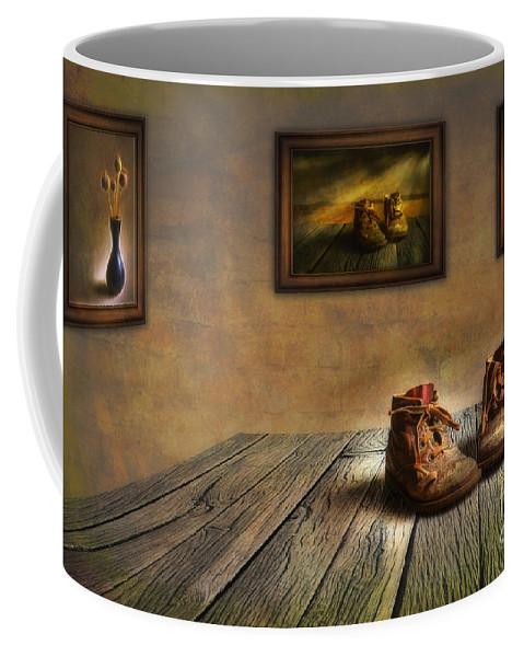 Art Coffee Mug featuring the photograph Mementos Exhibition by Veikko Suikkanen