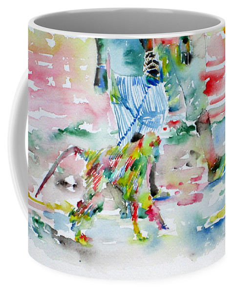 Men Coffee Mug featuring the painting Men With Chained Monkey by Fabrizio Cassetta