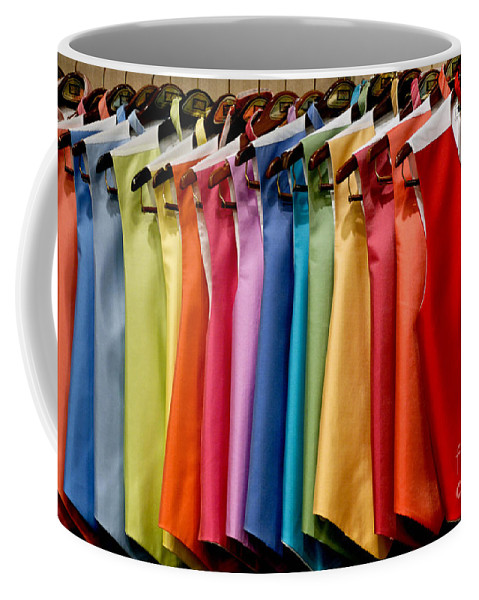 Bright Coffee Mug featuring the photograph Mens Tuxedo Vests In A Rainbow Of Colors by Amy Cicconi