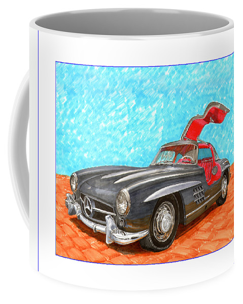 Mercedes Gull Wing Sl300 Coffee Mug featuring the painting Mercedes Benz 300 S L Gull Wing by Jack Pumphrey