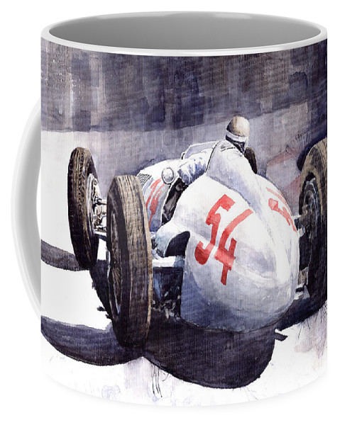 Auto Coffee Mug featuring the painting Mercedes Benz W 154 1938 M Von Brauchisch by Yuriy Shevchuk