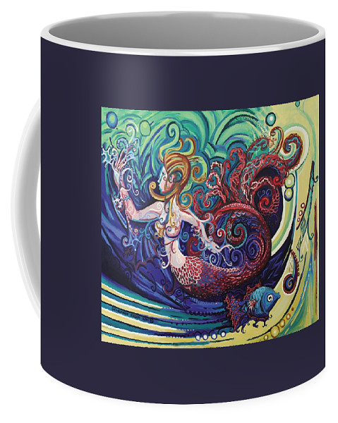 Mermaid Coffee Mug featuring the painting Mermaid Gargoyle by Genevieve Esson