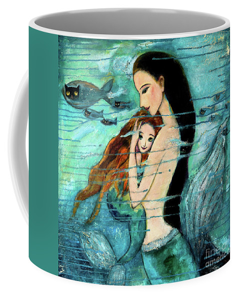 Mermaid Art Coffee Mug featuring the painting Mermaid Mother And Child by Shijun Munns