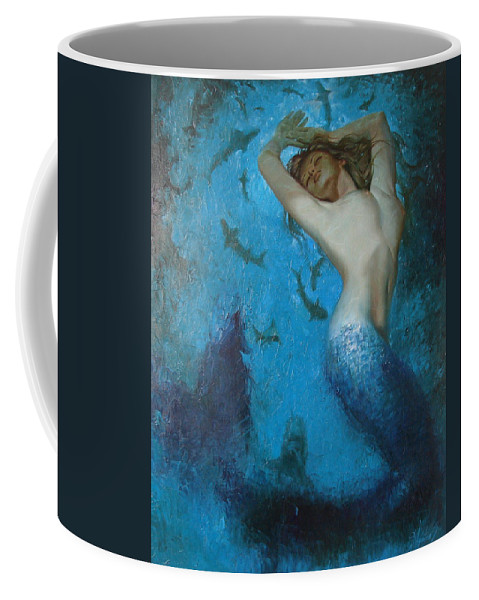 Ignatenko Coffee Mug featuring the painting Mermaid by Sergey Ignatenko