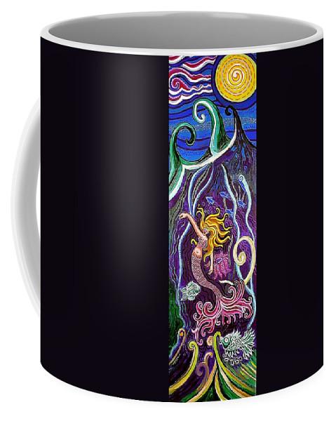 Mermaid Coffee Mug featuring the painting Mermaid Under The Sea by Genevieve Esson