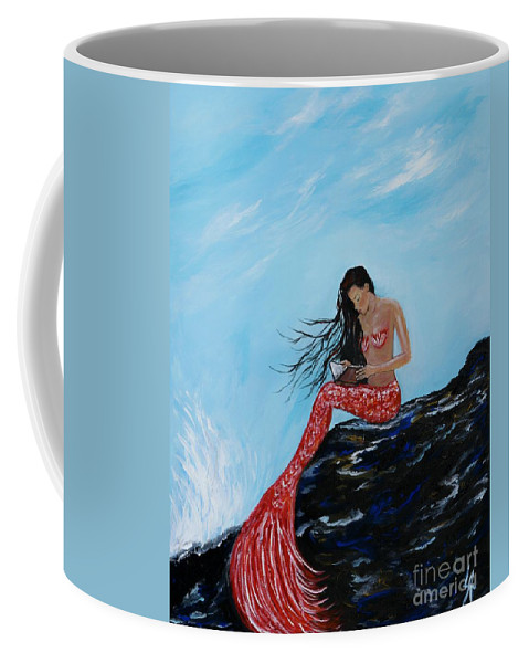 Mermaid Paintings Coffee Mug featuring the painting Mermaids Timeless Tales by Leslie Allen