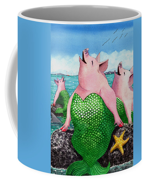 Mermaid Coffee Mug featuring the painting Merpigs by Catherine G McElroy