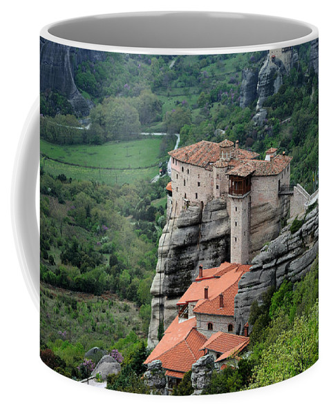 Meteora Coffee Mug featuring the photograph Meteora Monasteries by Grigorios Moraitis