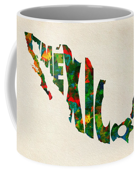 Mexico Coffee Mug featuring the painting Mexico Typographic Watercolor Map by Inspirowl Design