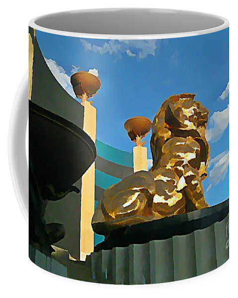 Mgm Lion In Las Vegas Coffee Mug featuring the photograph Mgm Lion In Las Vegas by John Malone