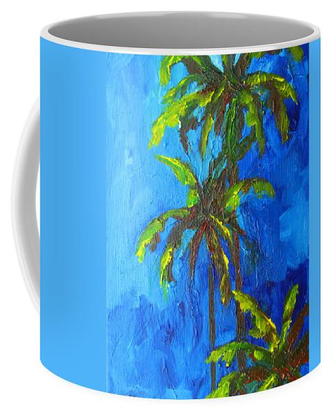 Art Coffee Mug featuring the painting Miami Beach Palm Trees In A Blue Sky by Patricia Awapara