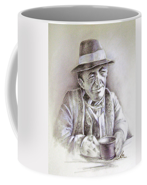 Portrait Michael Anderson Coffee Mug featuring the painting Michael J Anderson by Miki De Goodaboom