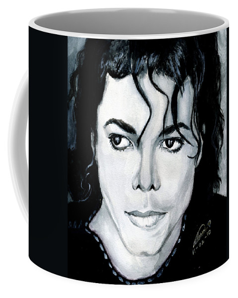 Michael Jackson Coffee Mug featuring the painting Michael Jackson Portrait by Alban Dizdari