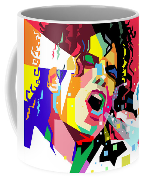 Singing Coffee Mug featuring the digital art Michael Jackson singing on WPAP by Ahmad Nusyirwan