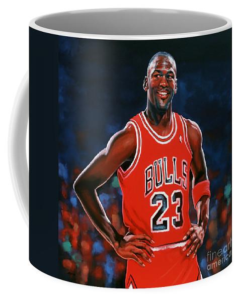 Michael Jordan Coffee Mug featuring the painting Michael Jordan by Paul Meijering